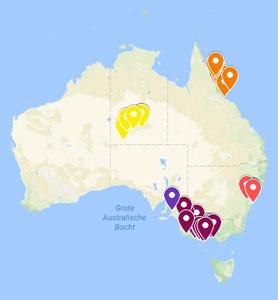 Reisroute Australië