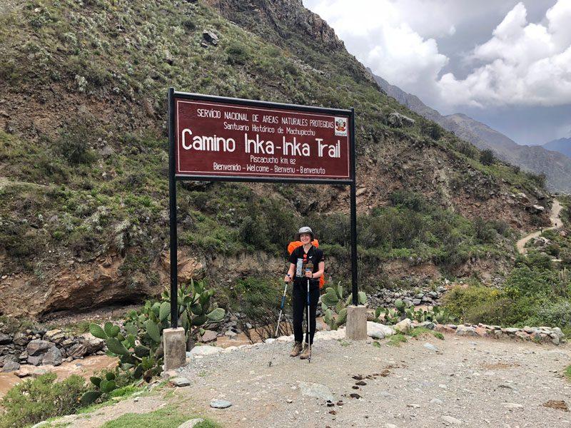Inca Trail lopen in Peru.