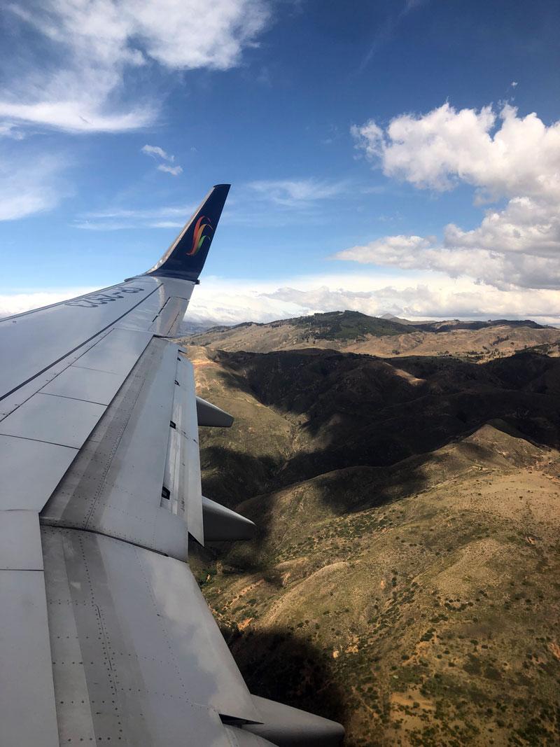 Vliegen naar Sucre in Bolivia.