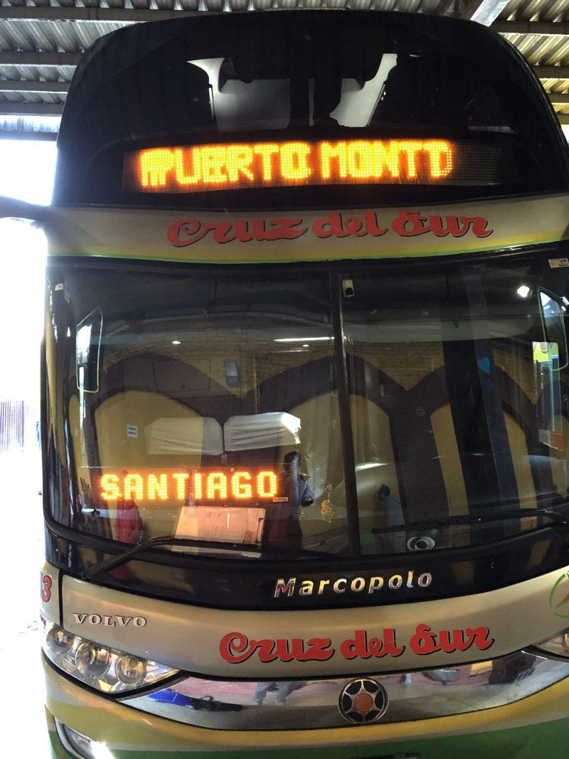 Bus van Puerto Montt naar Santiago, Chili.