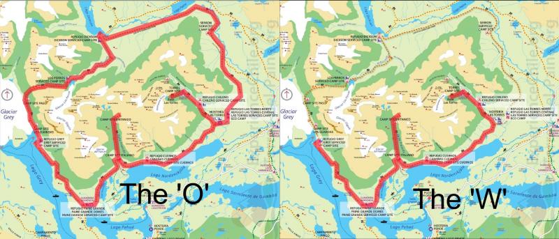 Kaart van de O en W trek in Torres del Paine National Park, Chili.